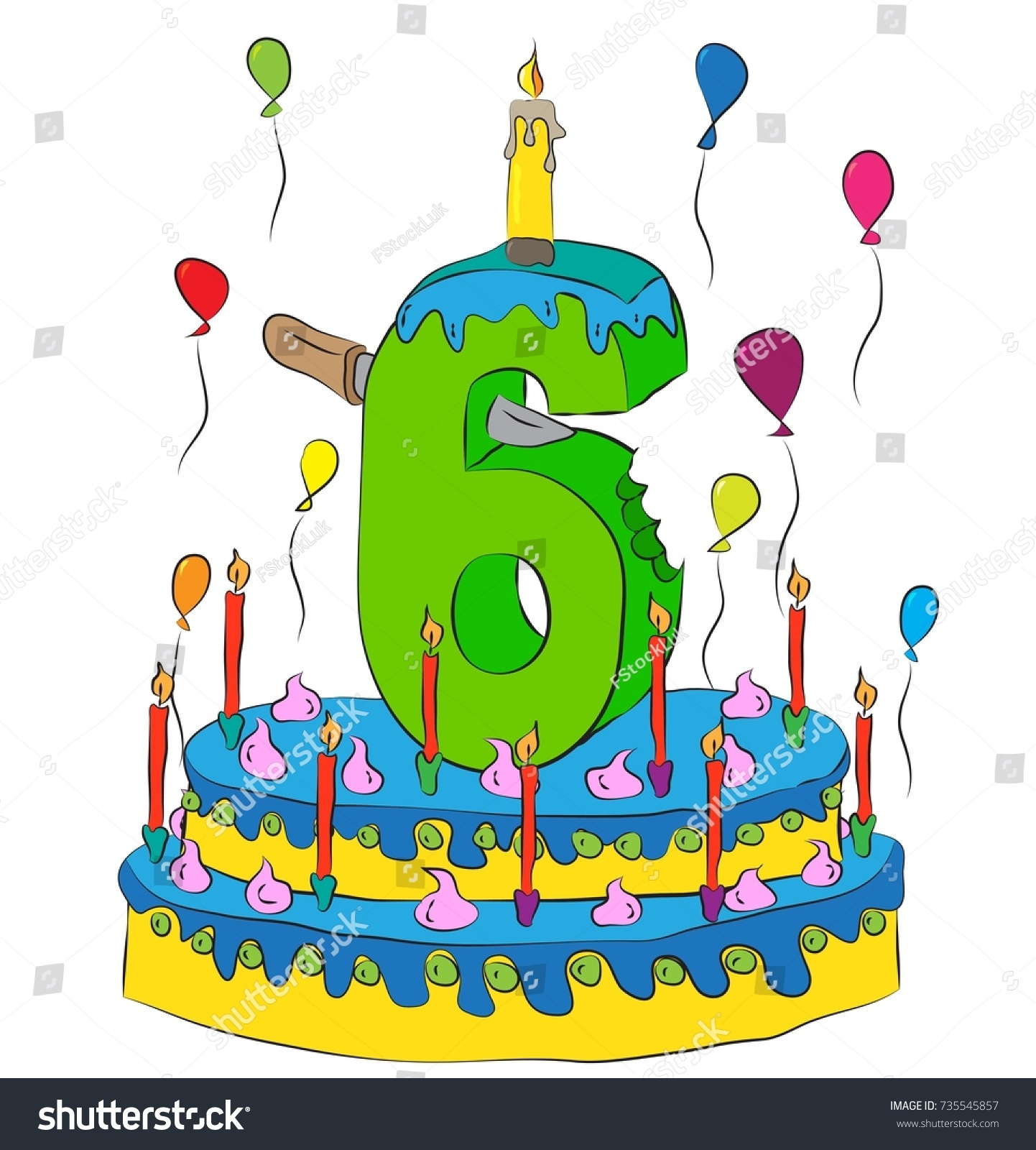 6 Birthday Cake Number Six Candle Stock Vector Royalty Free
