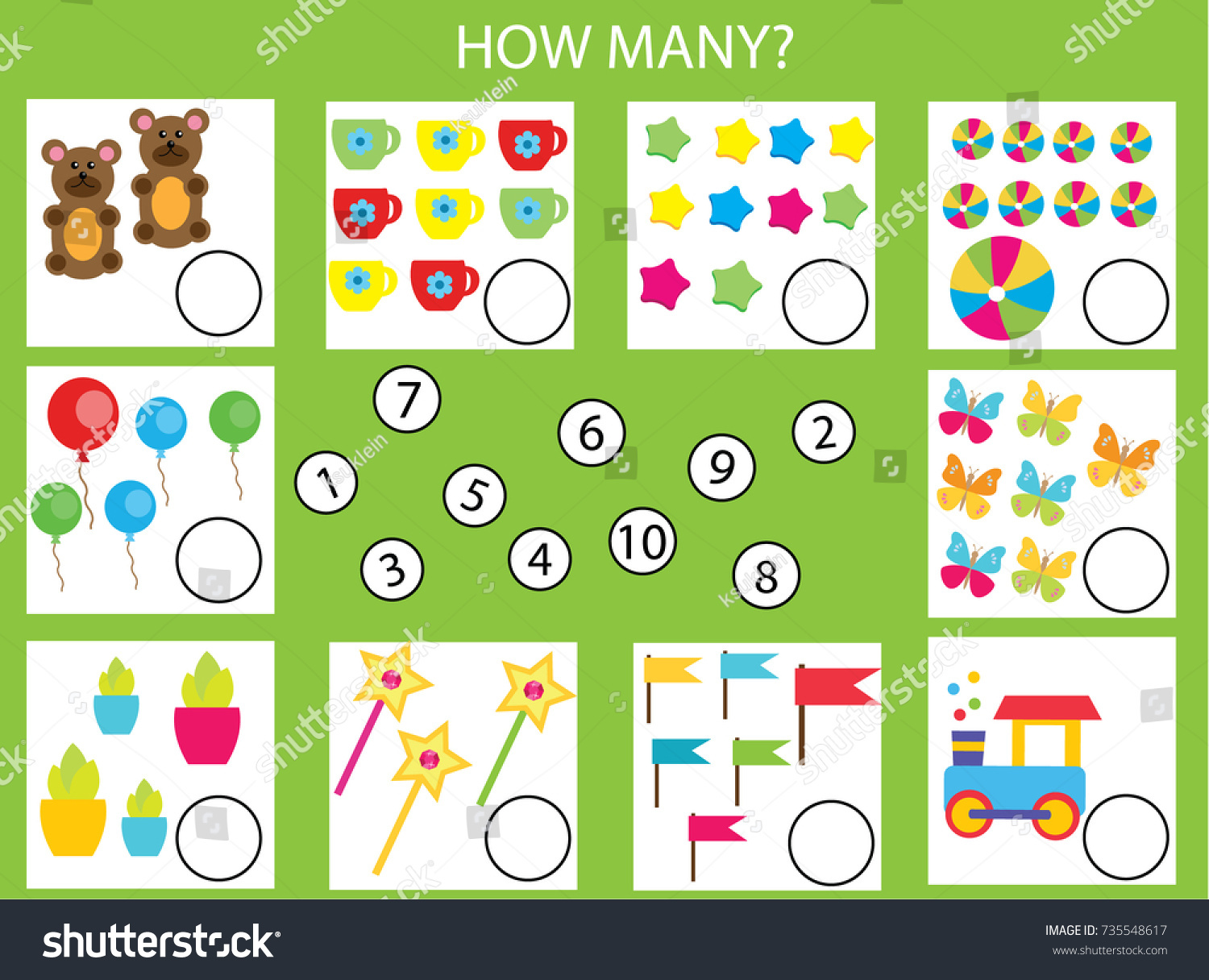 Counting Educational Children Game Math Kids Stock Vector HD ...