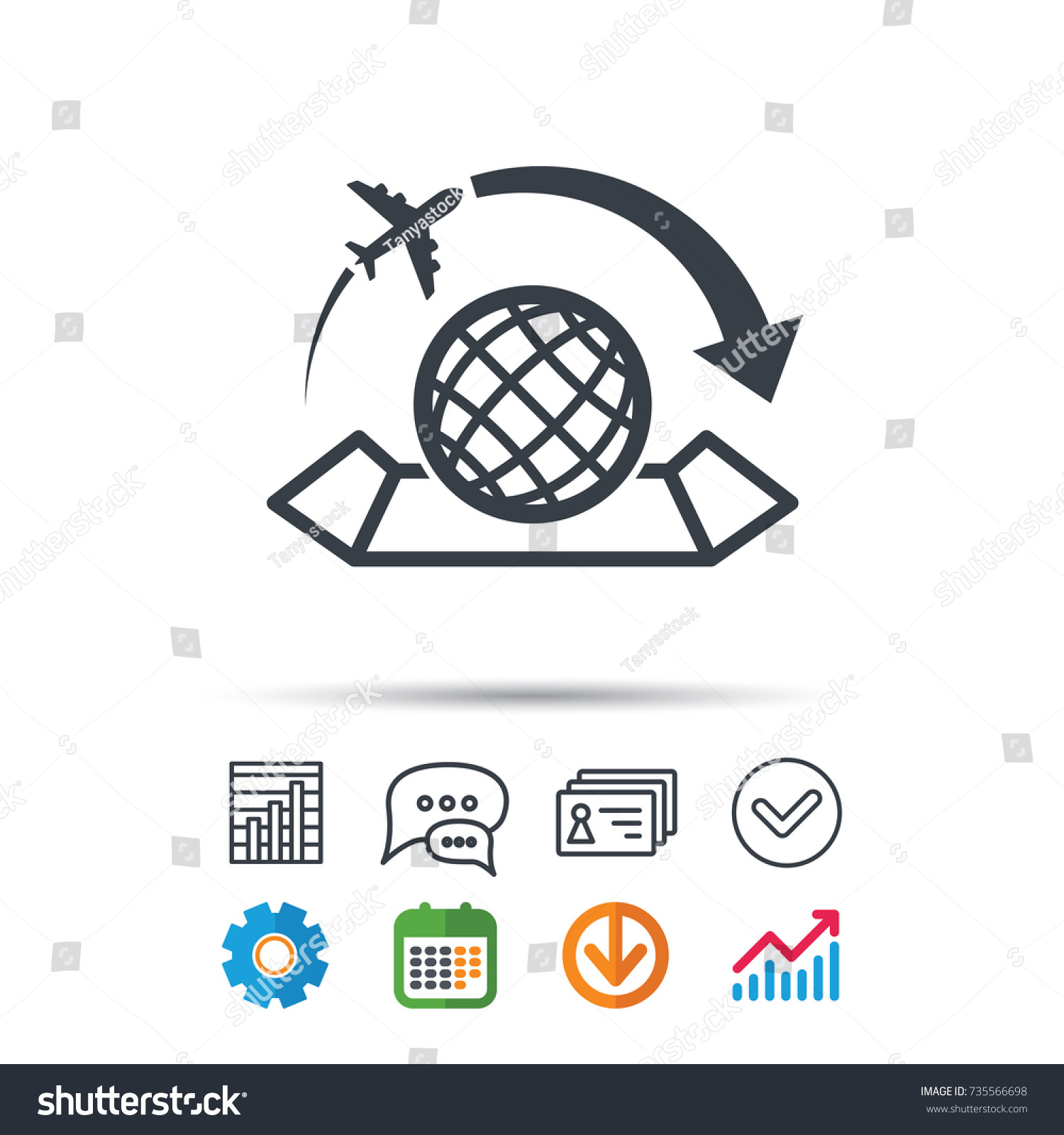 World map icon globe arrow sign stock vector 735566698 shutterstock world map icon globe with arrow sign plane travel symbol statistics chart gumiabroncs Image collections