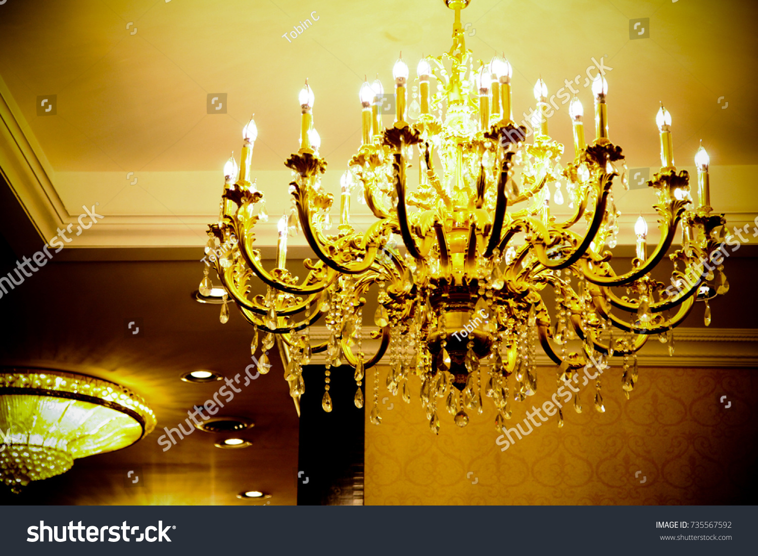 Large victorian chandelier hanging hotel lounge stock photo large victorian chandelier hanging in a hotel lounge aloadofball Choice Image
