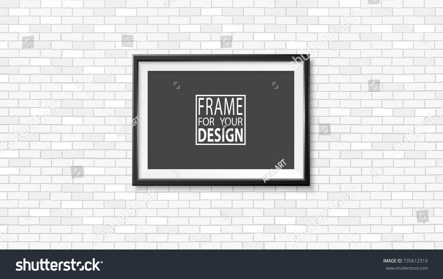 Frame On Wall Photoframe Mock Up Stock Vector (Royalty Free ...
