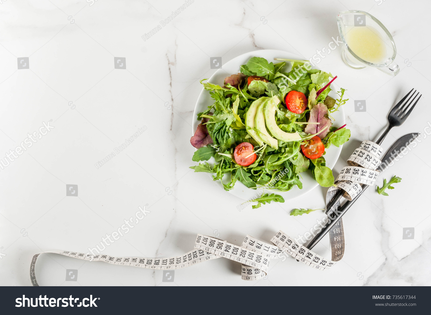 Healthy Balanced Diet Concept Weight Loss Calorie Counting Plate With Green Salad Leaves