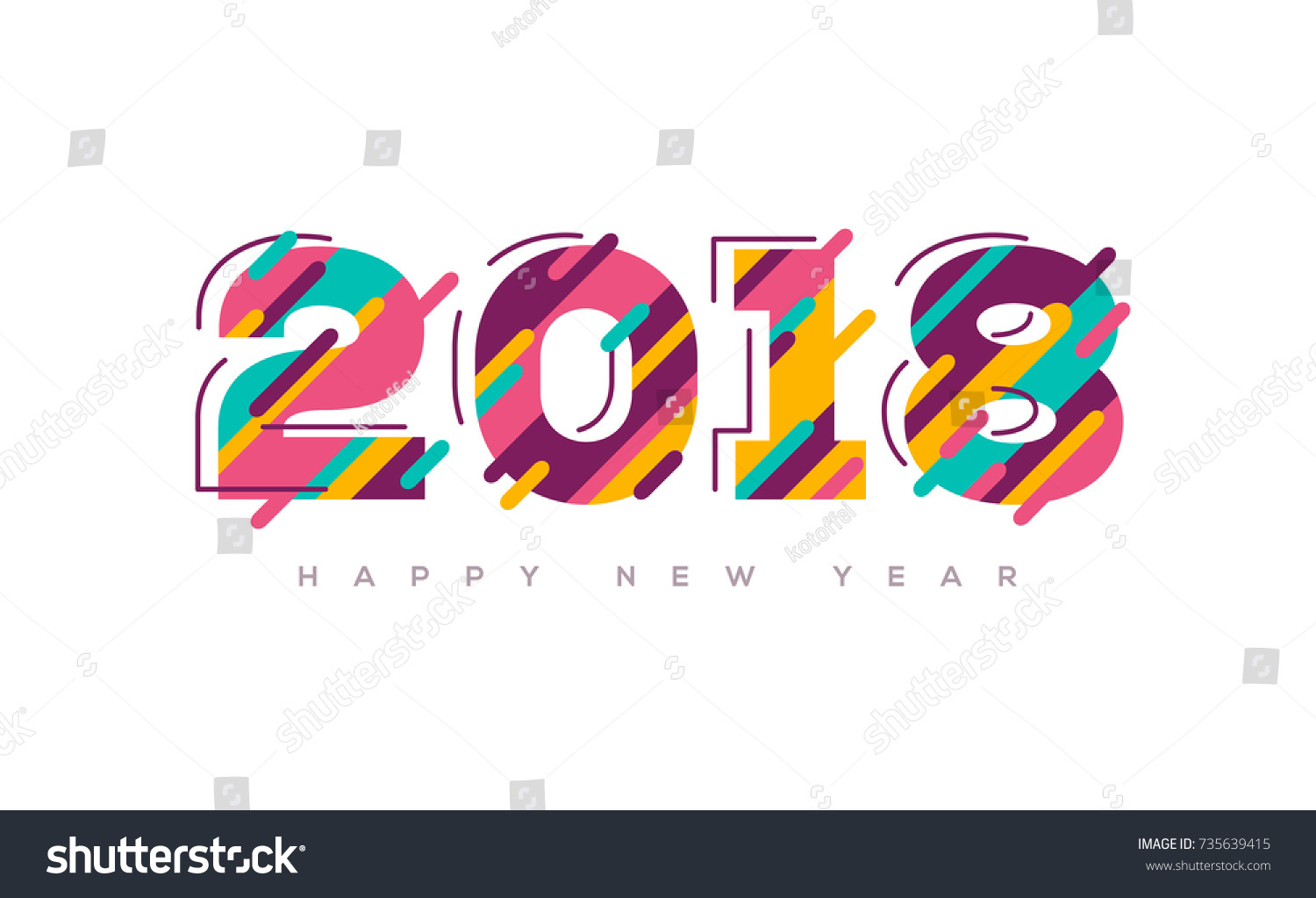 2018 Happy New Year Greeting Card Stock Vector Royalty Free