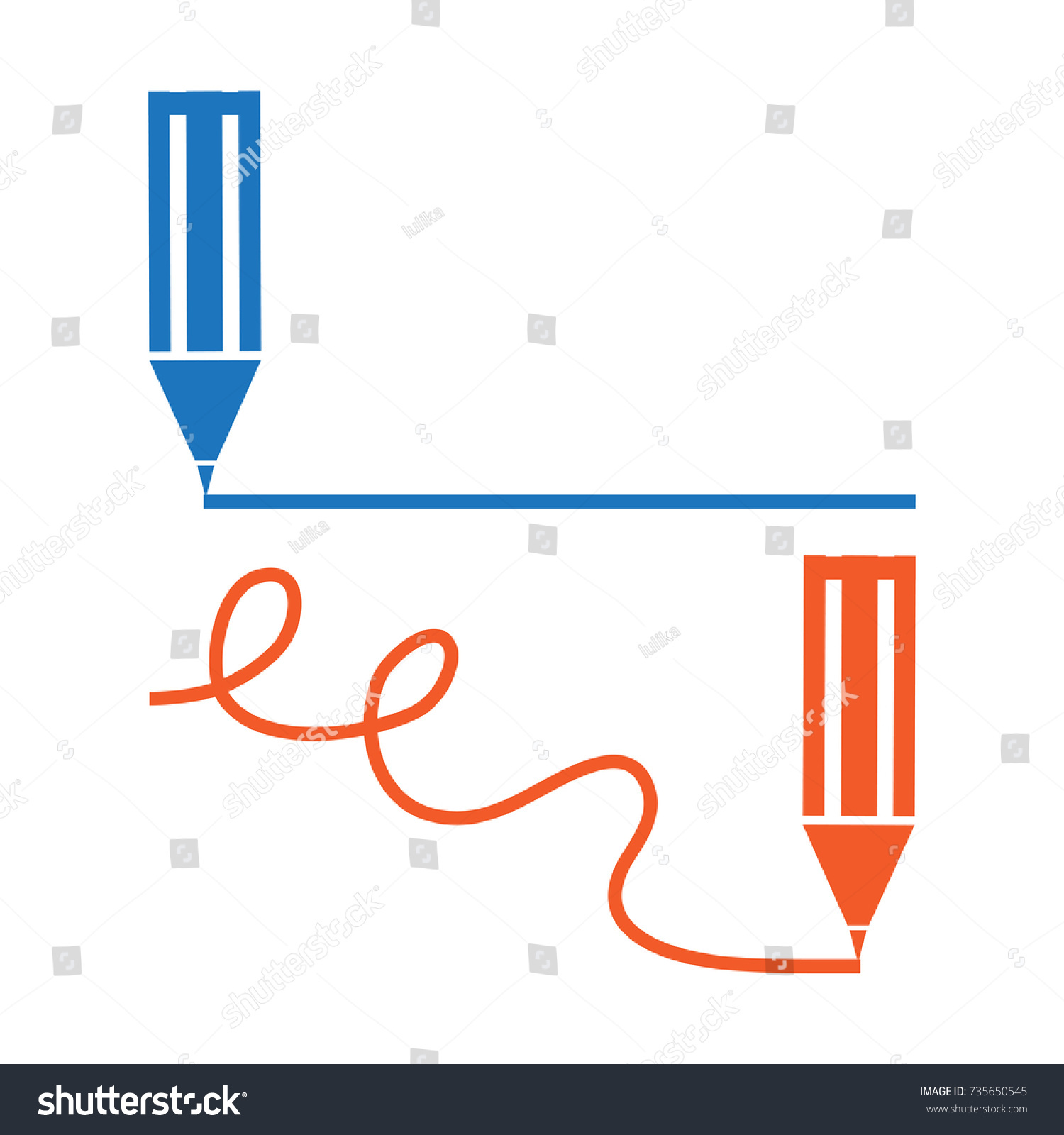 Blue Red Penpencil Marker Minimal Icon Stock Vector ... Red Straight Line Vector