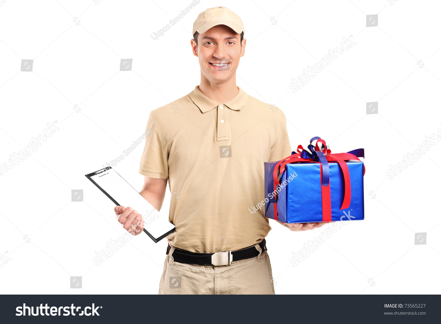 A Delivery Person Delivering A Big Gift Box Isolated On White ...