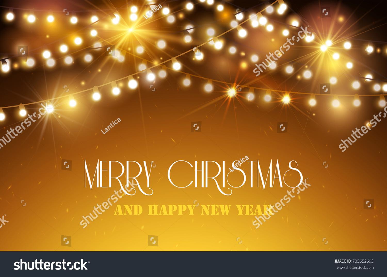 Shine Garland Merry Christmas Happy New Stock Vector Royalty Free