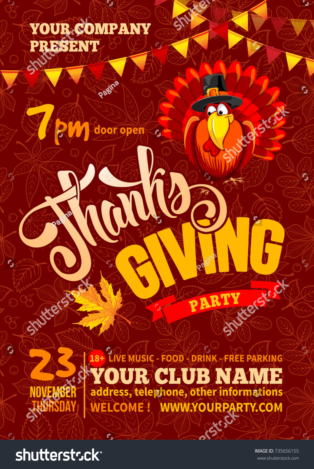 Thanksgiving Flyer Poster Template Red Background Stock Vector Royalty Free 735656155