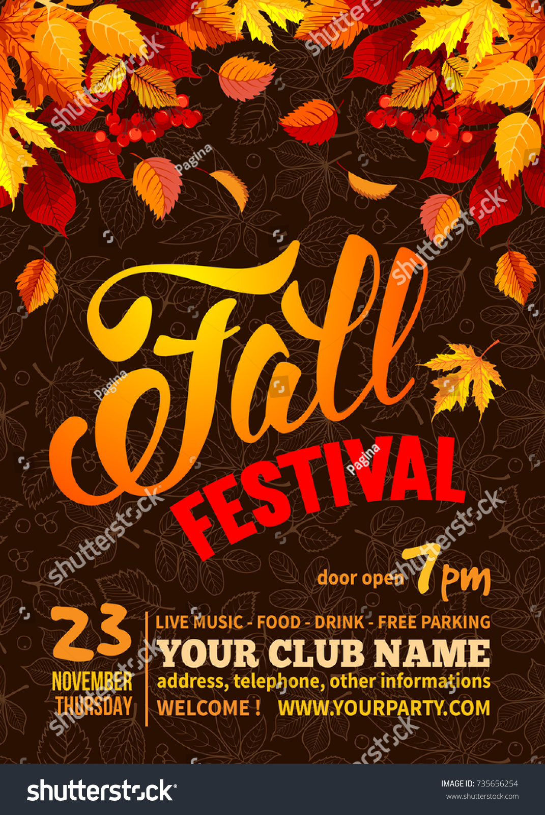 Fall Festival Flyer Or Poster Template. Bright Autumn Leaves On Dark  Background With Line Art