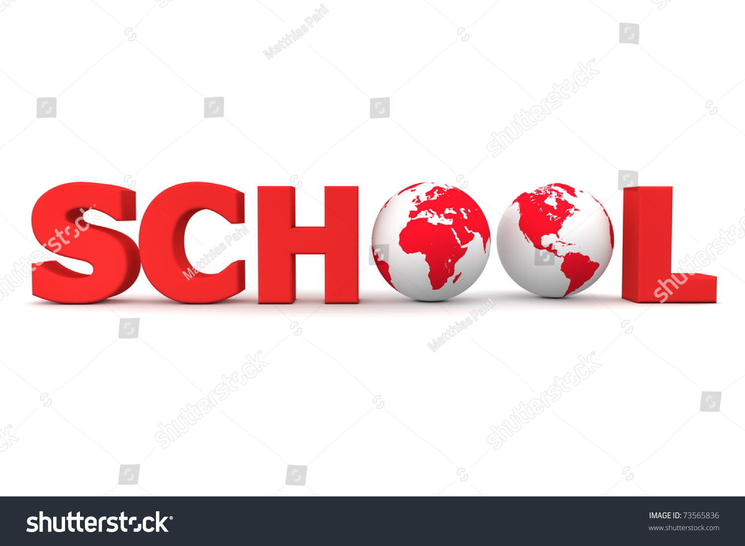 Red Word School Two 3d Globes Stock Illustration 73565836 ...