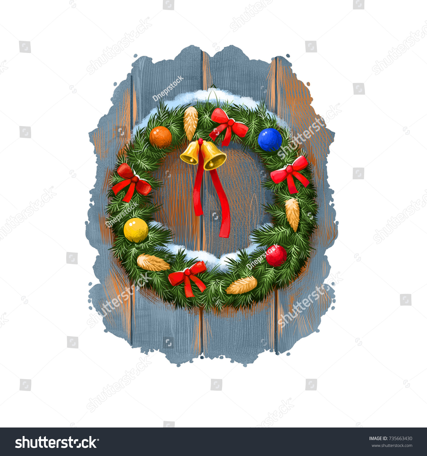 digital art illustration of christmas tree door decoration wreath with bells cones ribbon - Christmas Digital Decorations