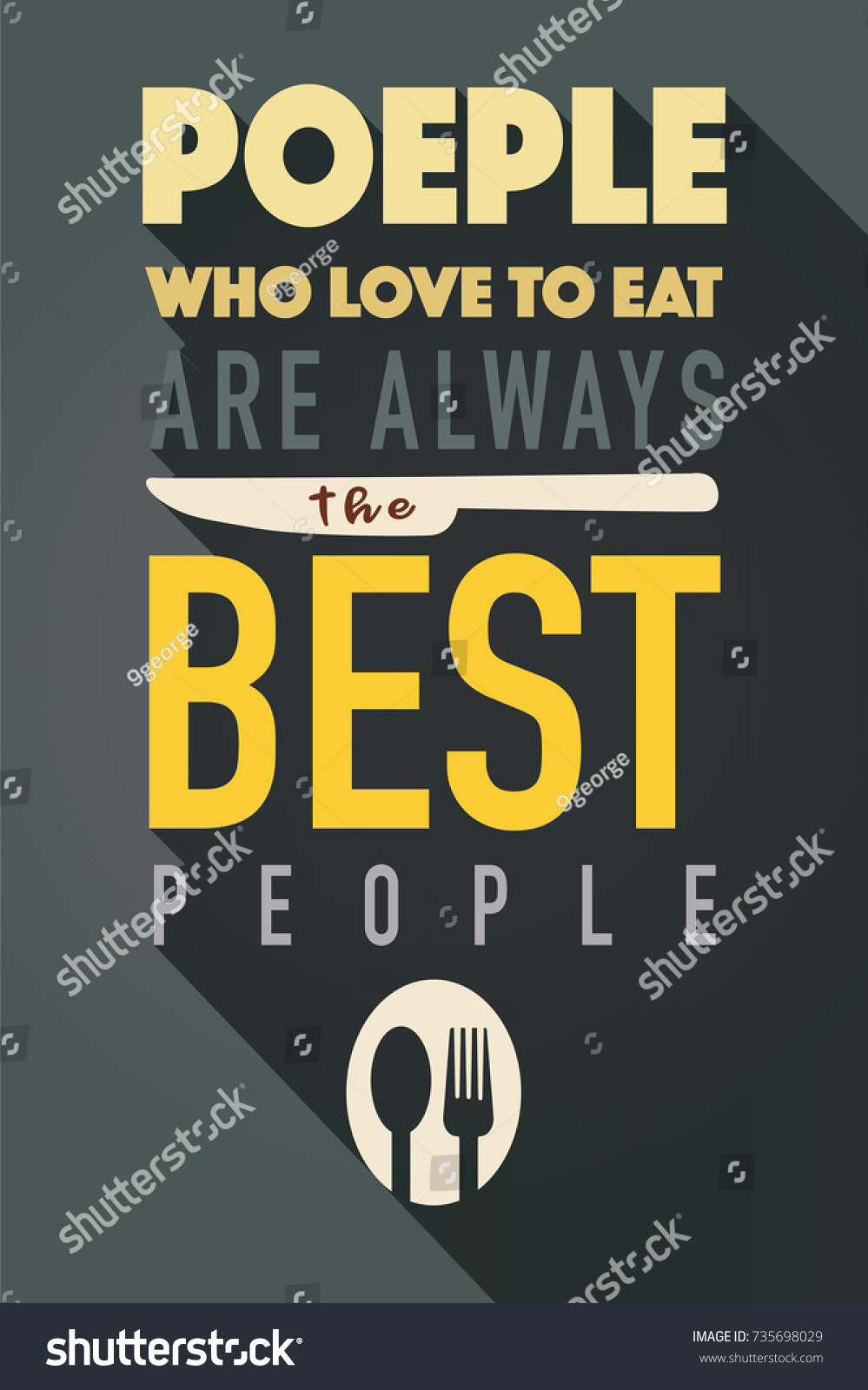 People Who Love Eat Typography Kitchen Stock Vector (Royalty Free ...