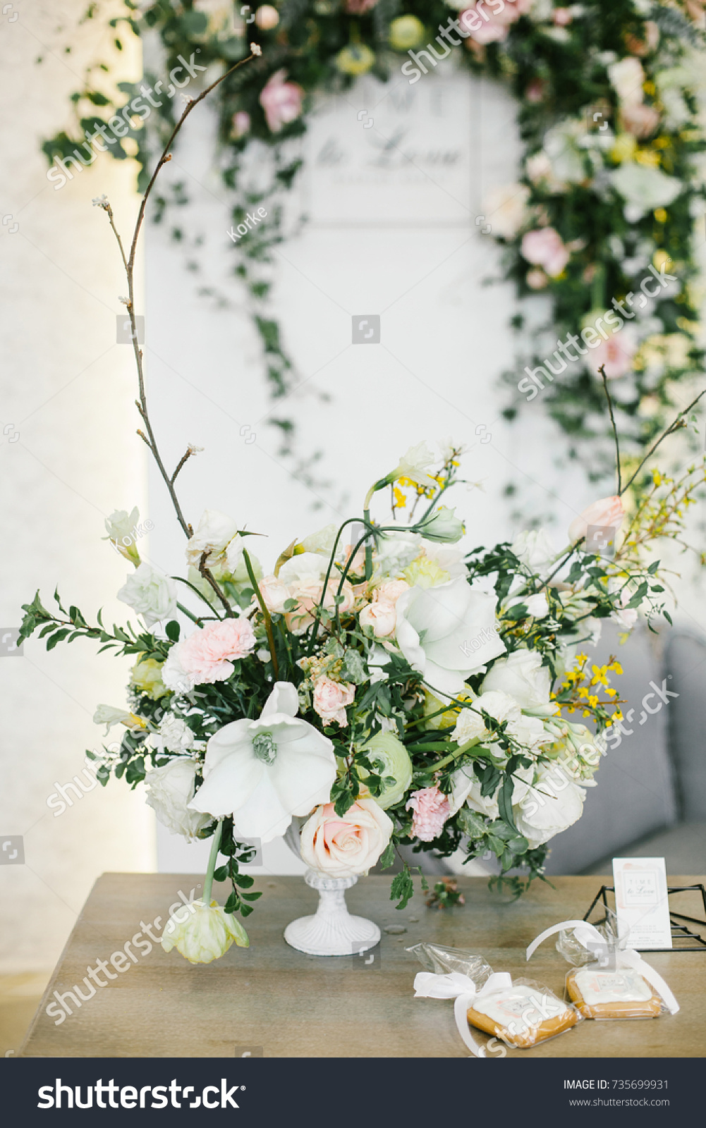 Wedding Table Centerpieces White Floral Composition Stock Photo ...