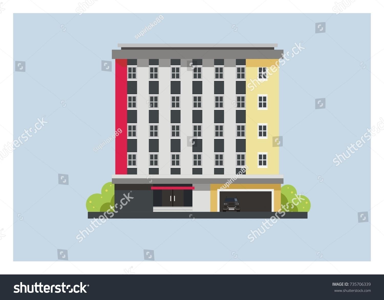 Minimalist Hotel Building Simple Illustration Stock Vector