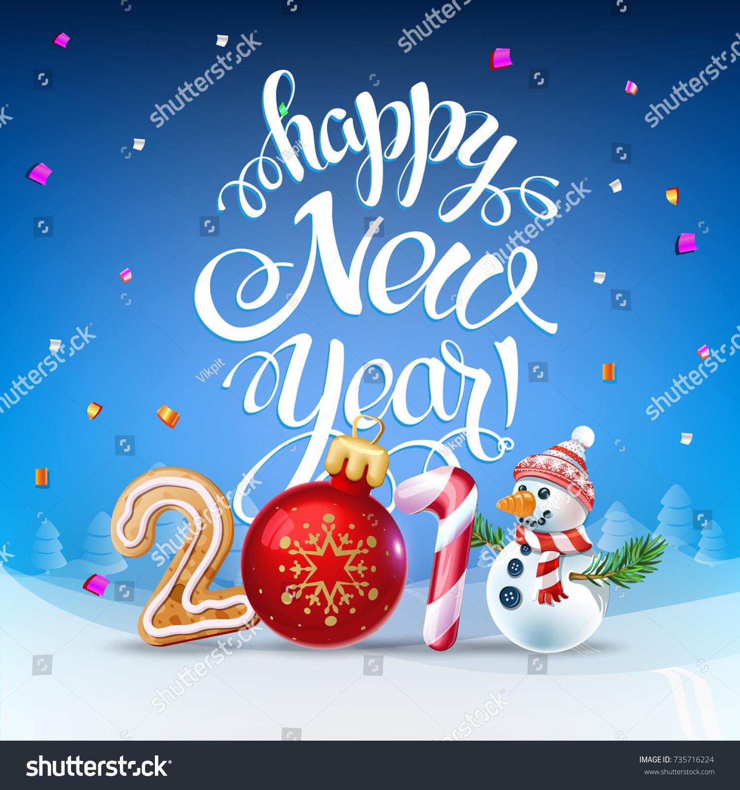 Happy New Year 2018 Decoration Poster Stock Vector 735716224 Shutterstock