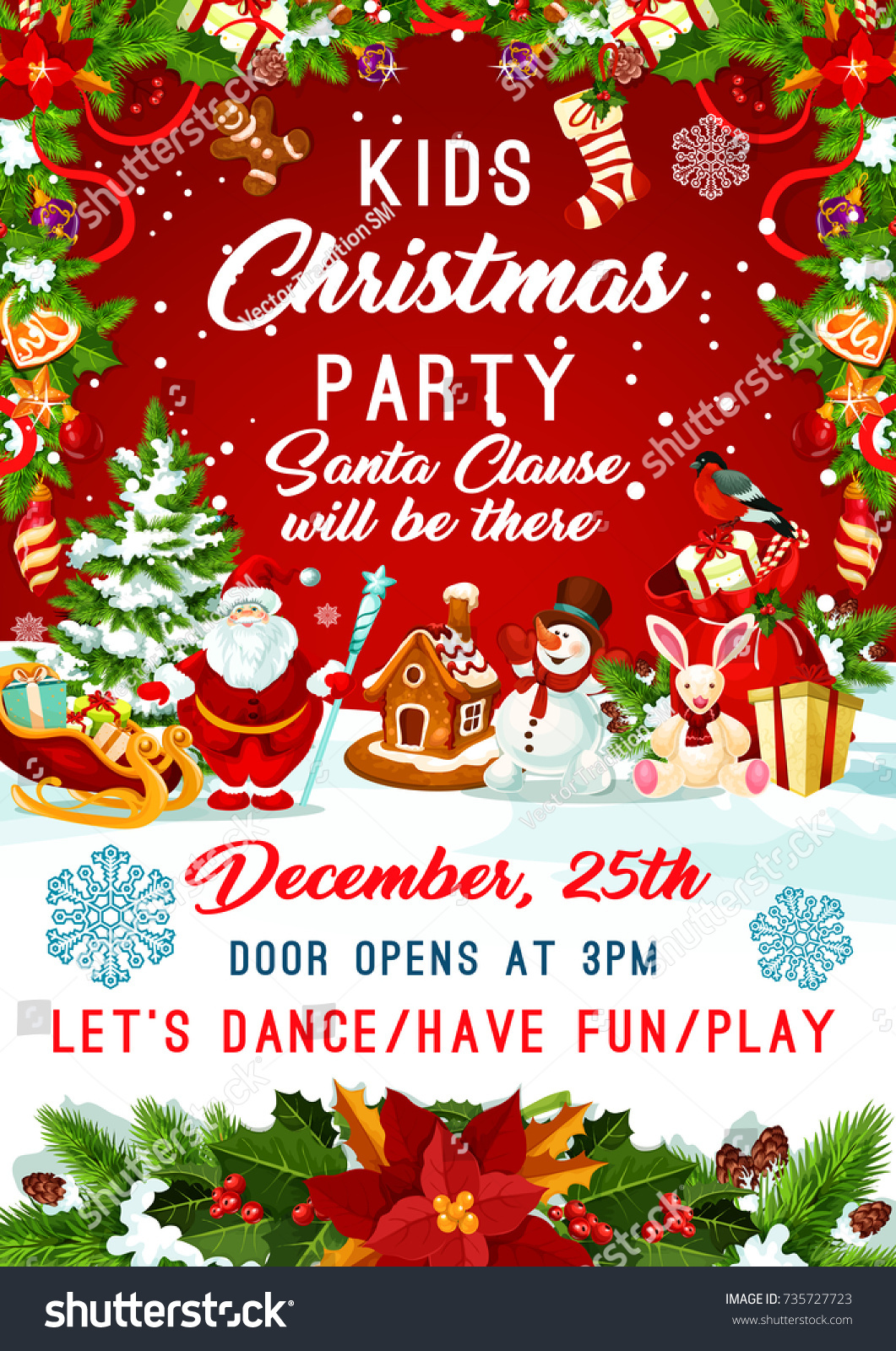 kids christmas party invitation poster template for new year winter holiday december party celebration vector