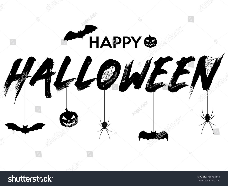 Happy Halloween Text Banner Vector Illustration Stock Vector