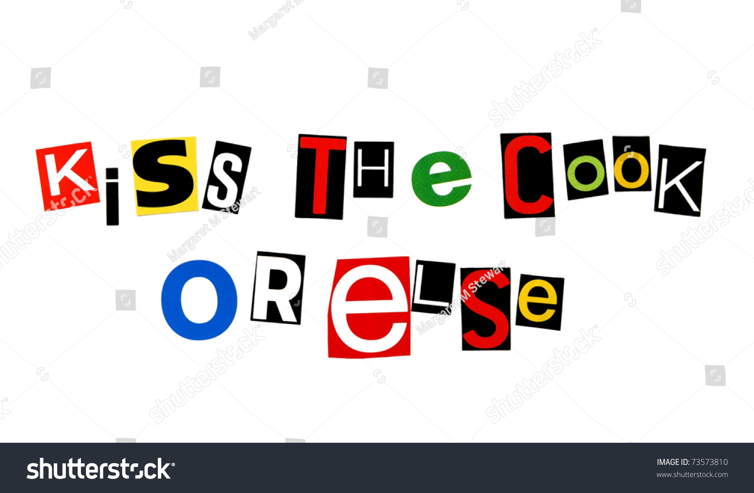 Kiss Cook Else Written Colorful Cutout Stock Photo