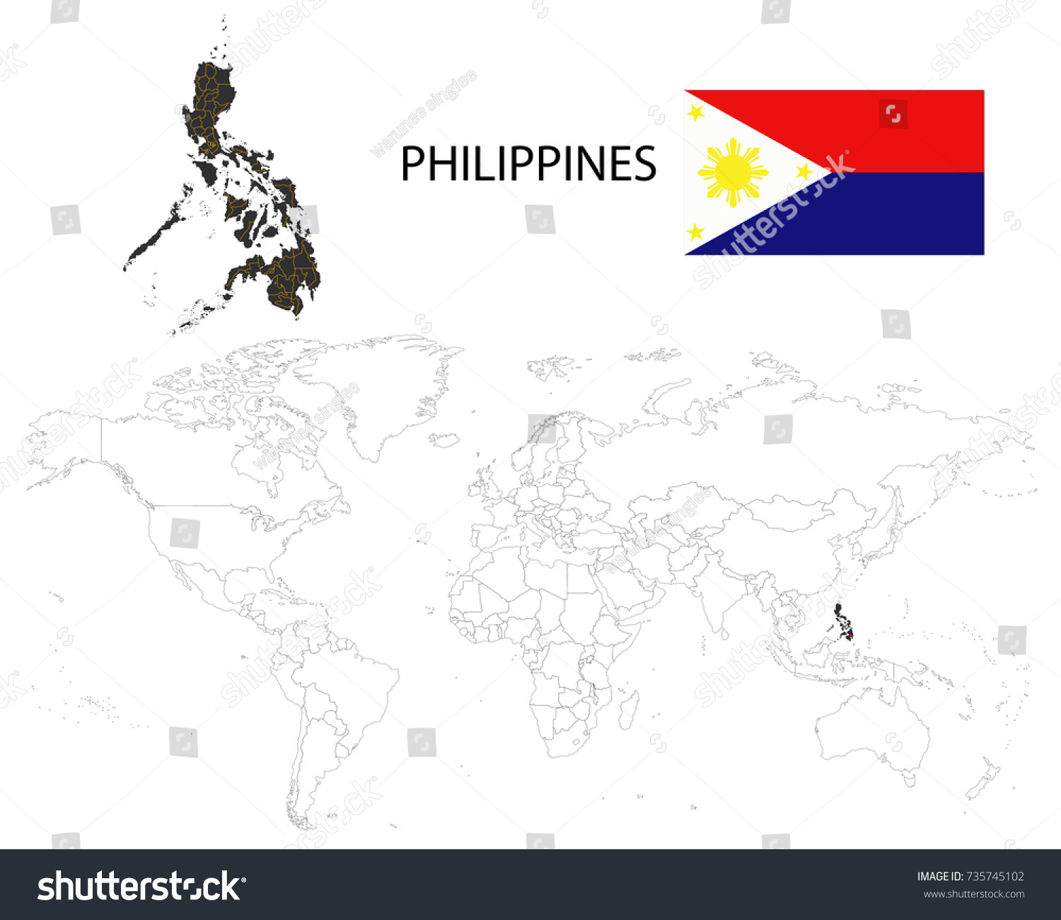 Picture of: Philippines Map On World Map Flag Stock Vector Royalty Free 735745102