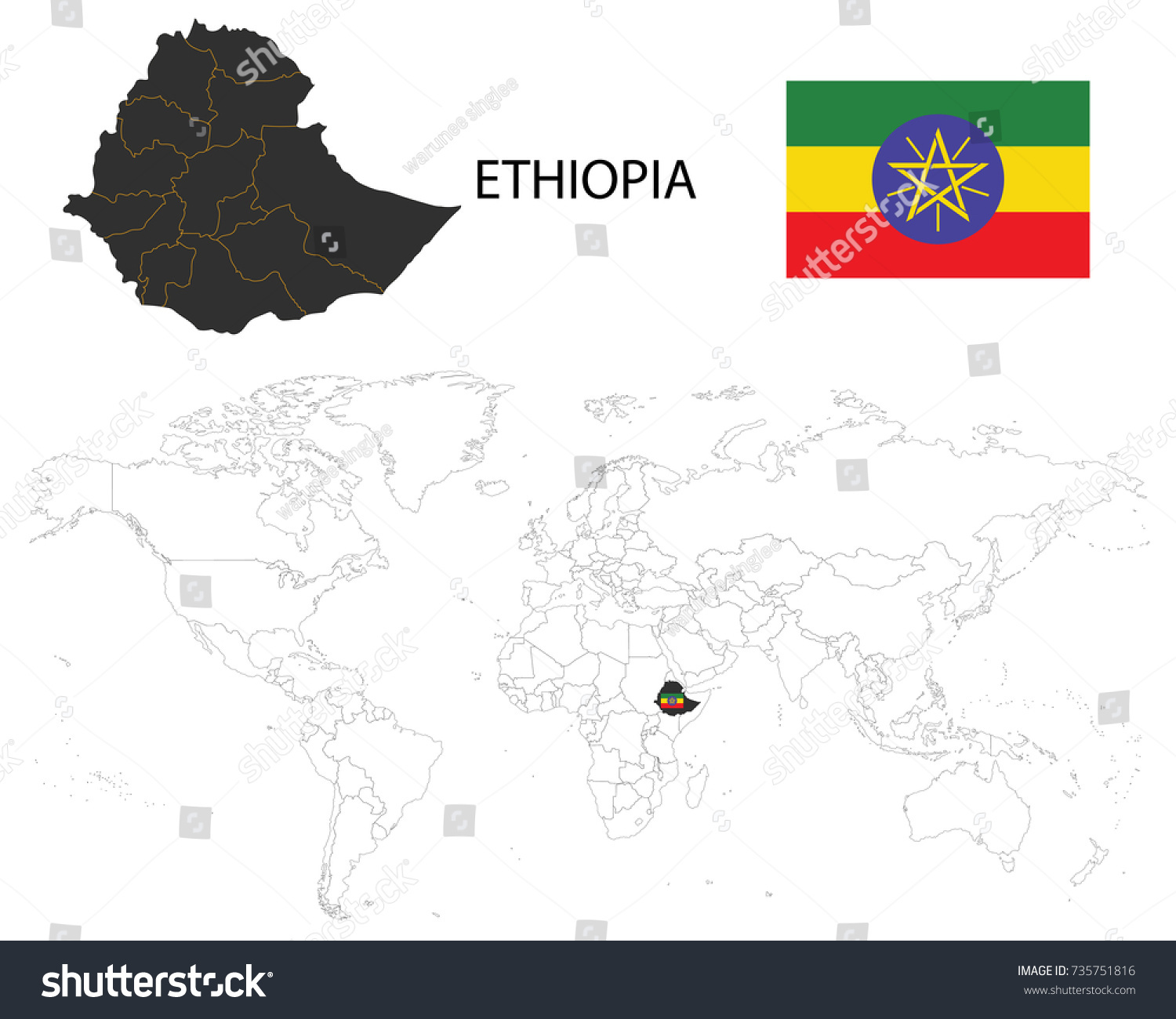 Ethiopia map on world map flag stock vector royalty free 735751816 ethiopia map on a world map with flag on white background gumiabroncs Choice Image