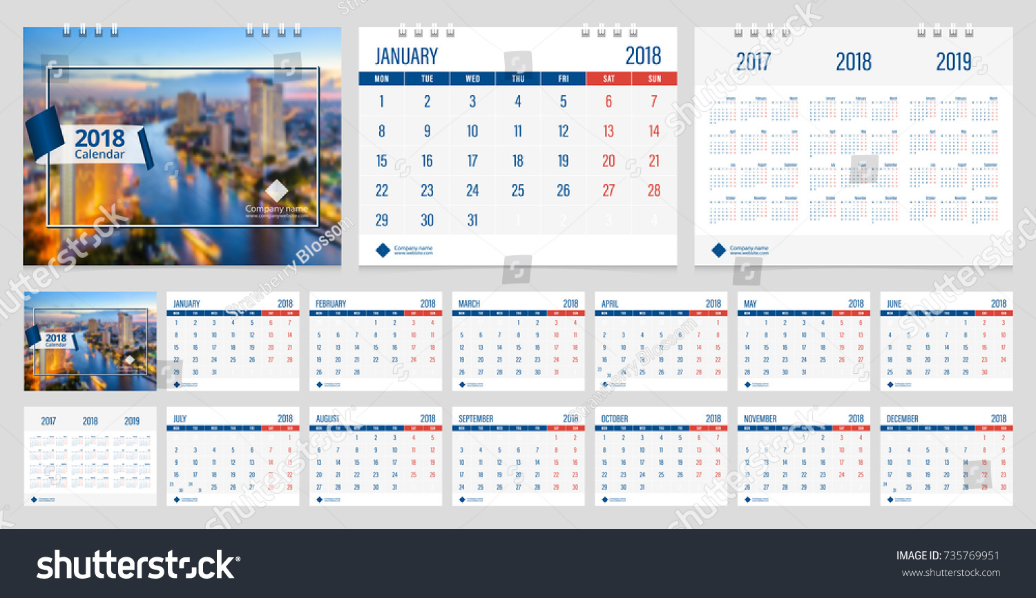 Calendar 2018 Week Start On Monday Stock Vector (Royalty Free ...