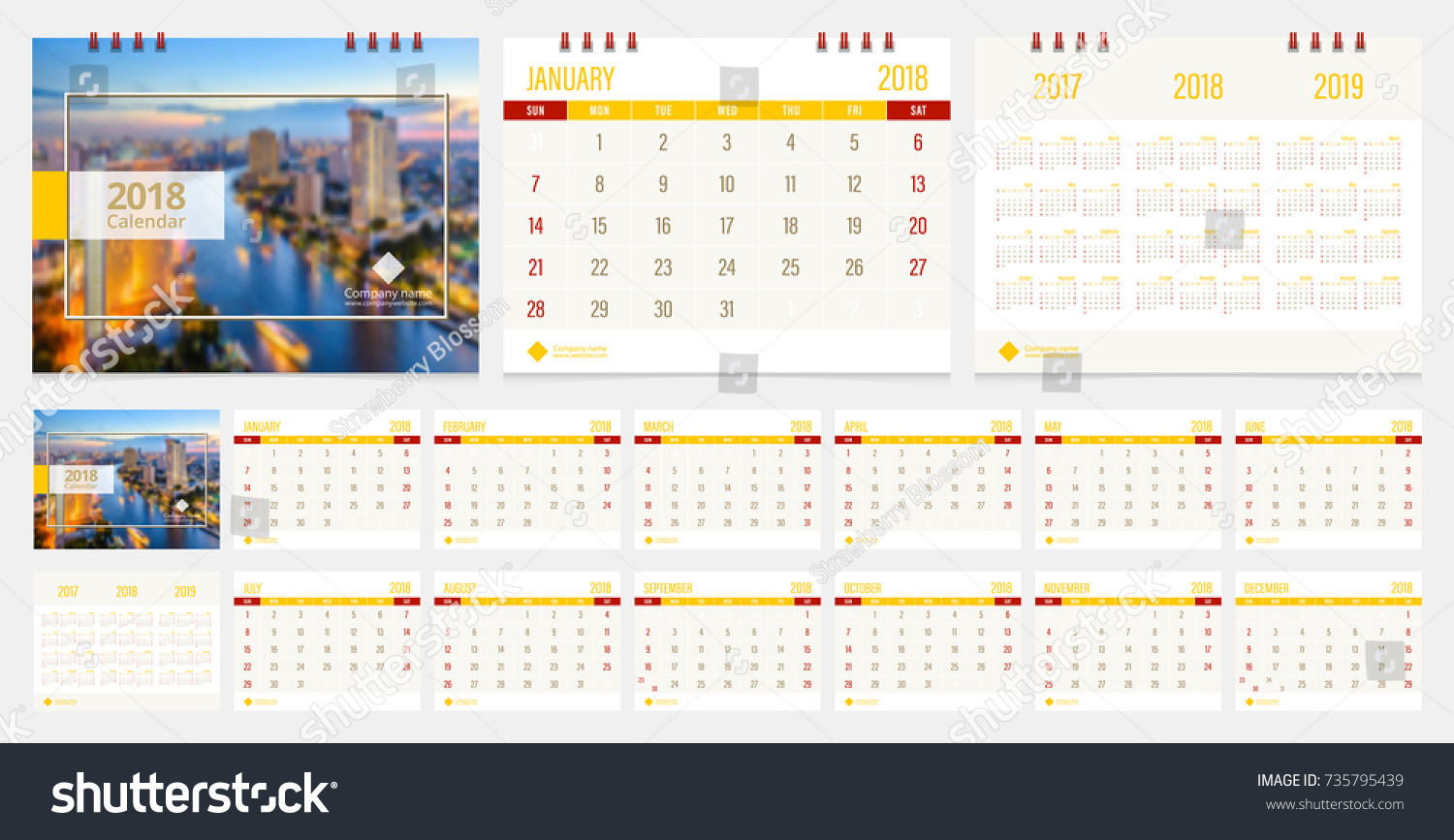 Calendar 2018 Week Start On Sunday Stock Vector 735795439 - Shutterstock