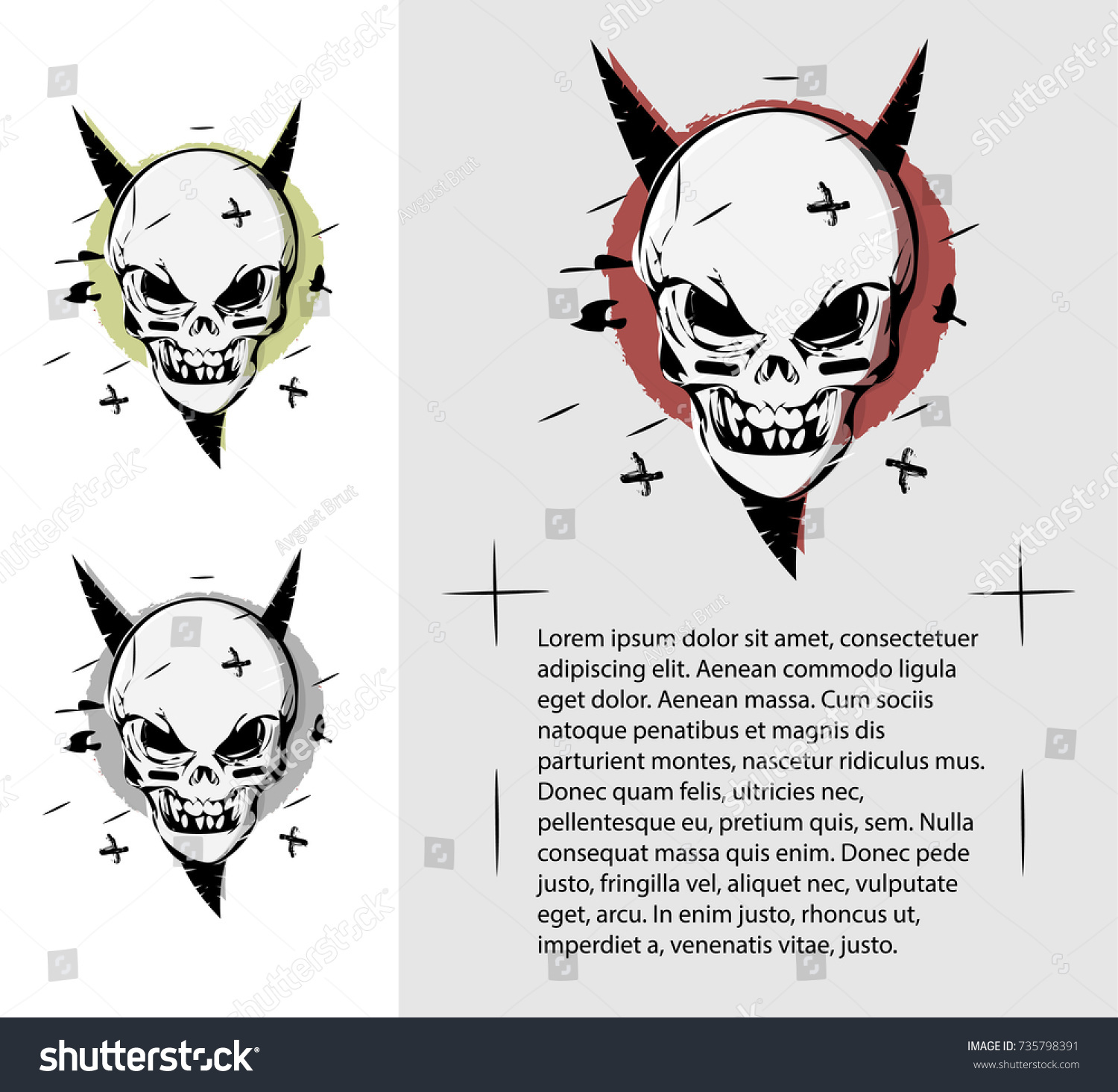 Evil skull different colors terrible page stock vector 735798391 evil skull in different colors a terrible page of the book template for business magicingreecefo Choice Image
