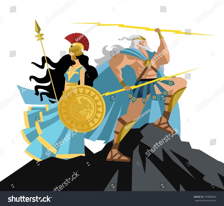 Athena Zeus On Mount Olympus Stock Vector (Royalty Free) 735808630 ...