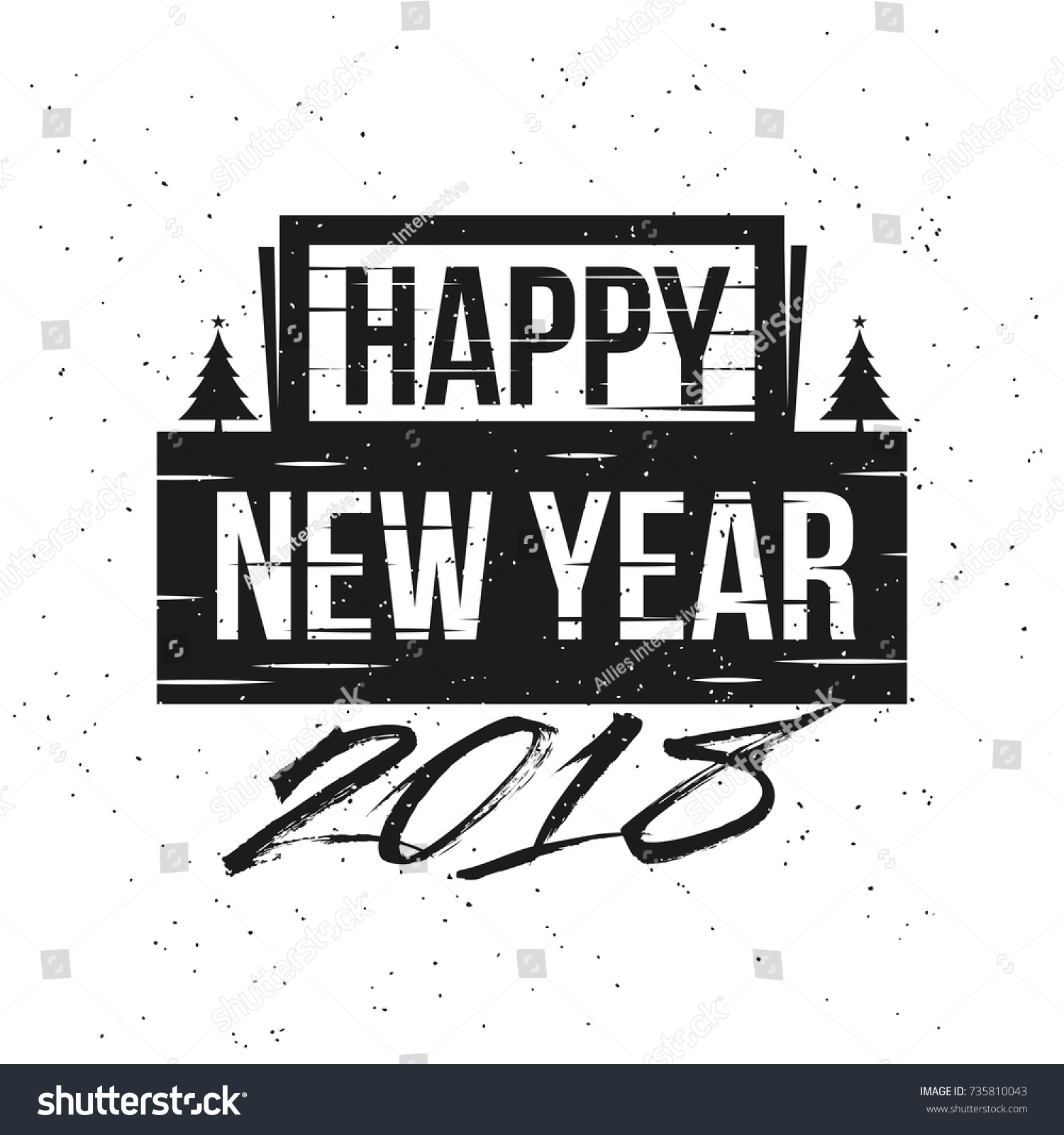 black and white text happy new year and 2018 on white background