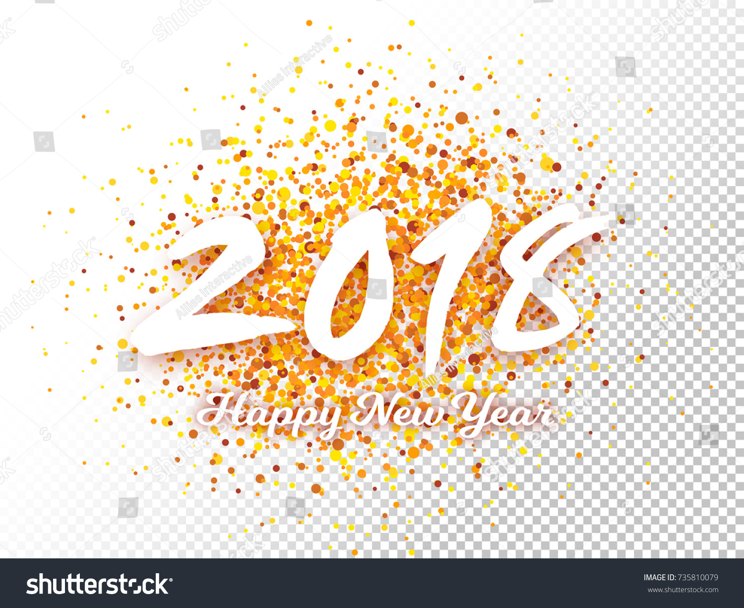 2018 text on transparent background for happy new year
