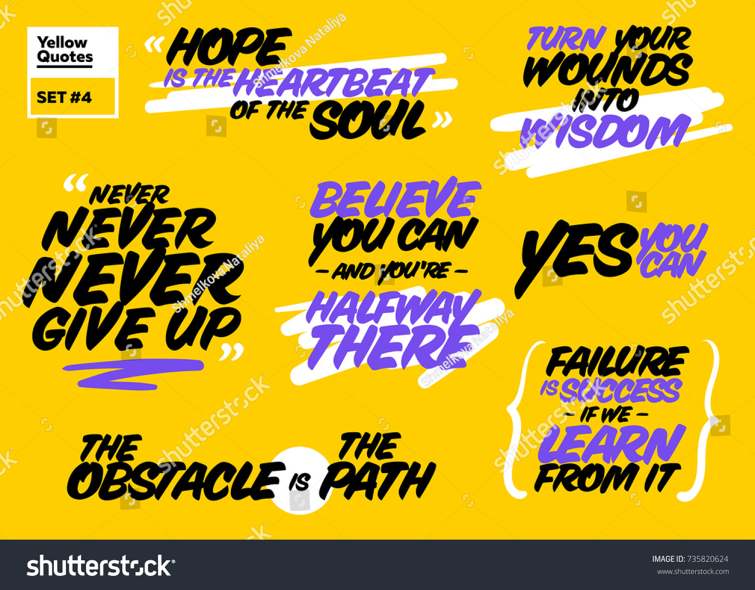 Short Positive Quotes Vector Set Short Positive Quotes Motivational Stock Vector