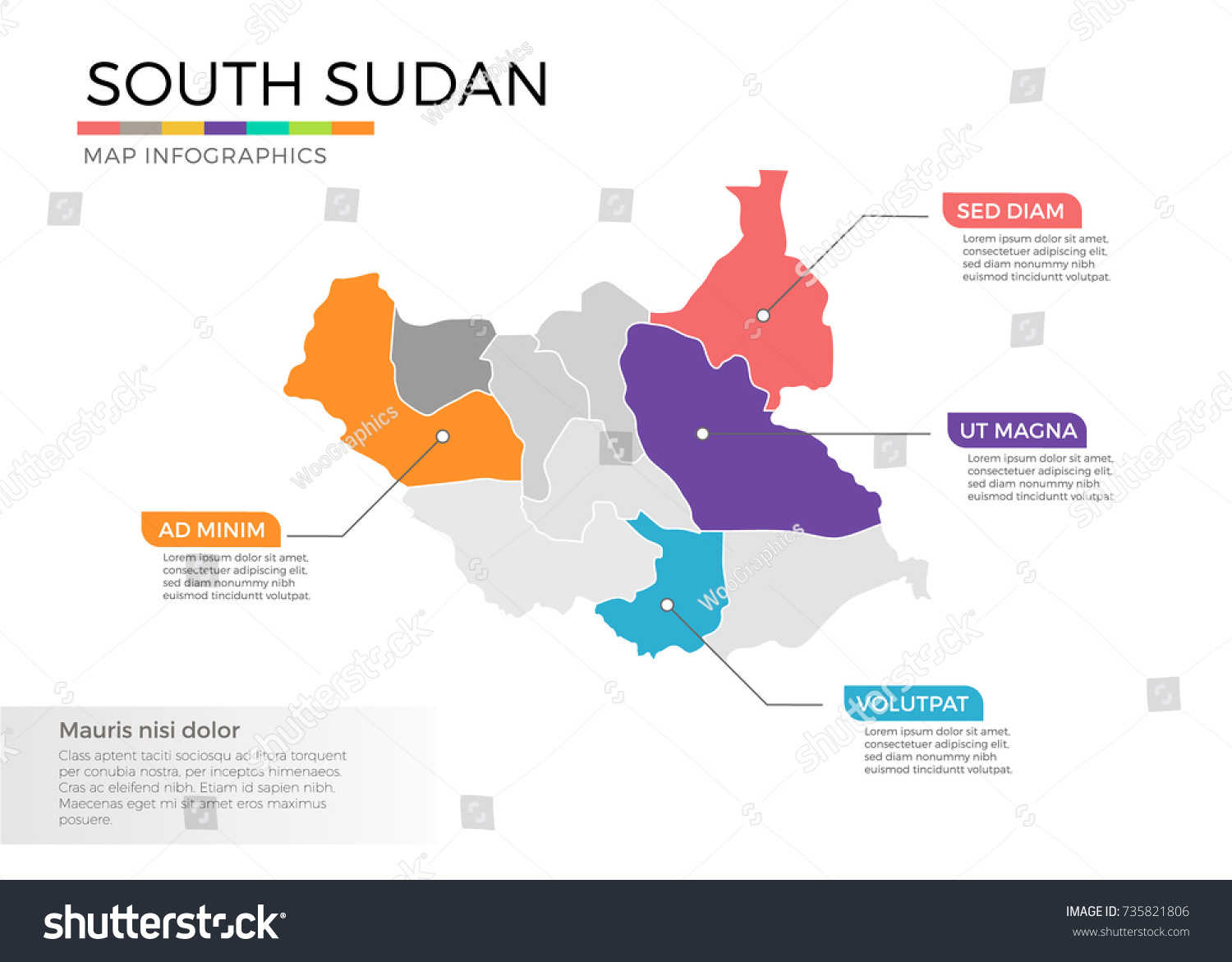 South sudan map infographics vector template stock vector south sudan map infographics vector template with regions and pointer marks gumiabroncs Gallery