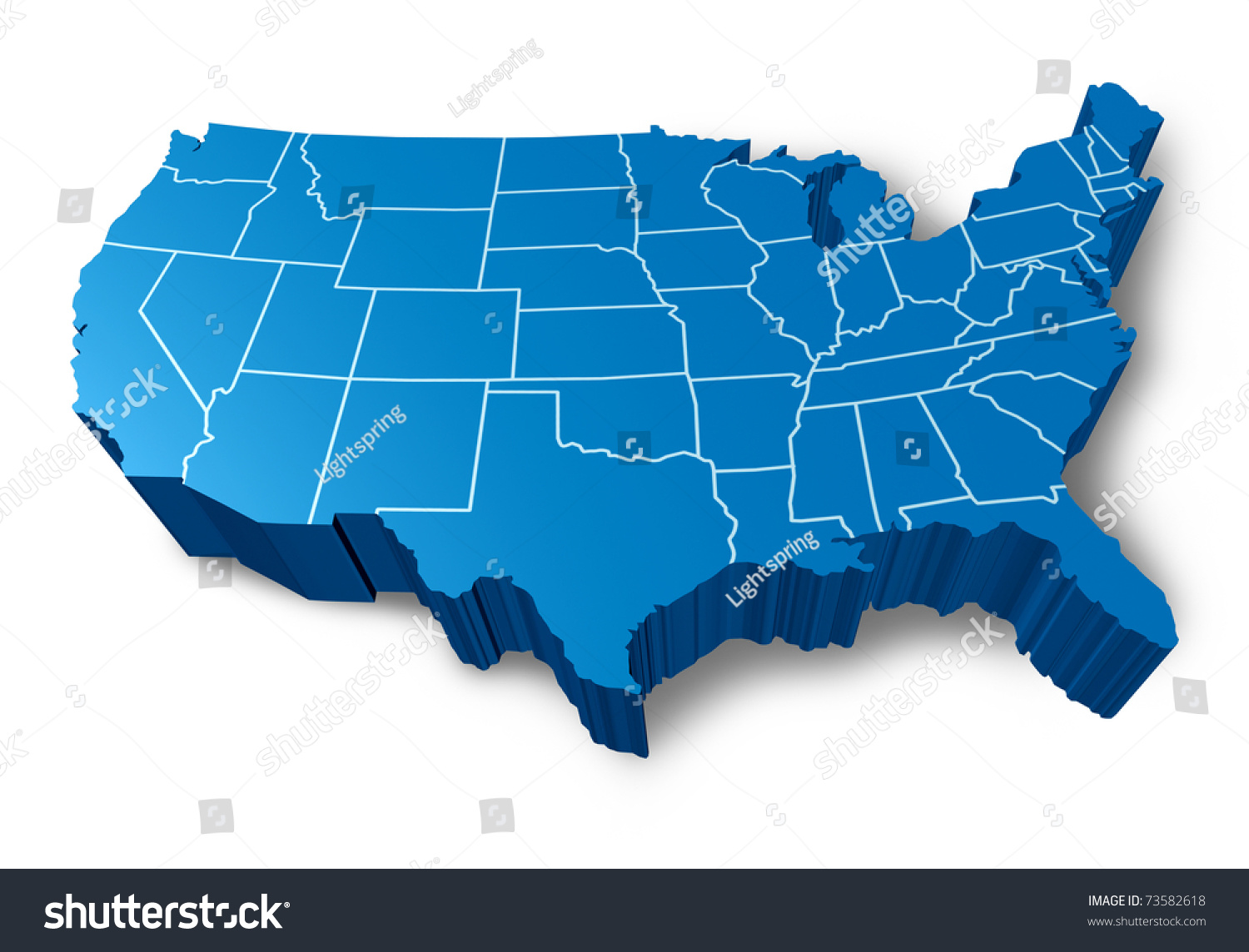 Usa D Map Symbol Represented By Stock Illustration - Us map blue