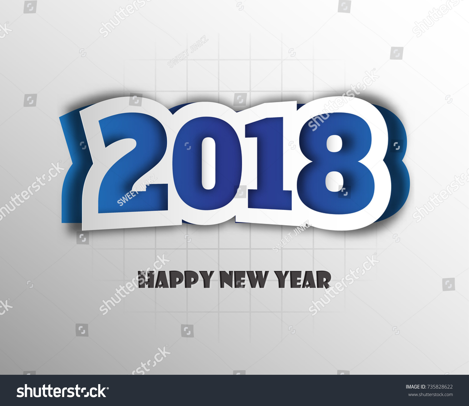 happy new 2018 year greetings card colorful design vector illustration