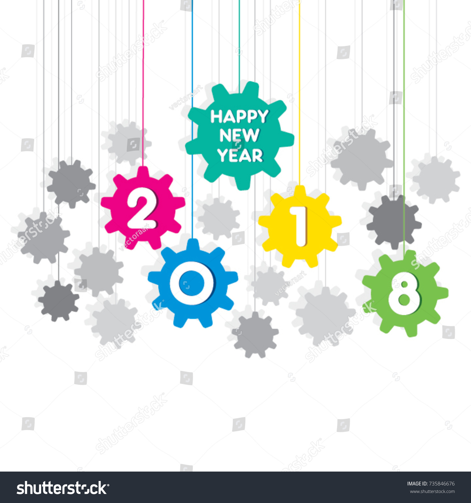 creative new year 2018 greeting design using hanging gear shape pattern