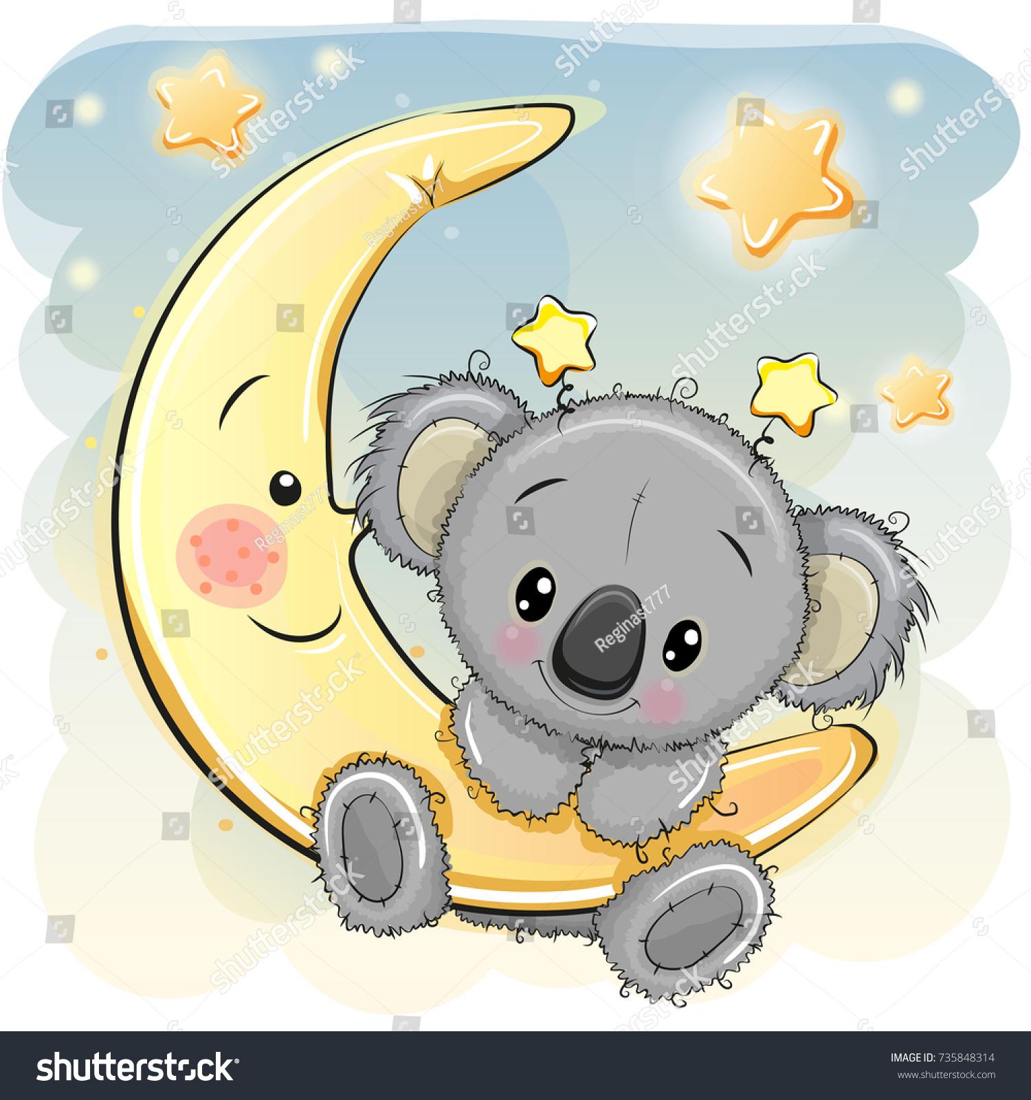 Greeting Card Cute Cartoon Koala On Stock Vector Royalty Free