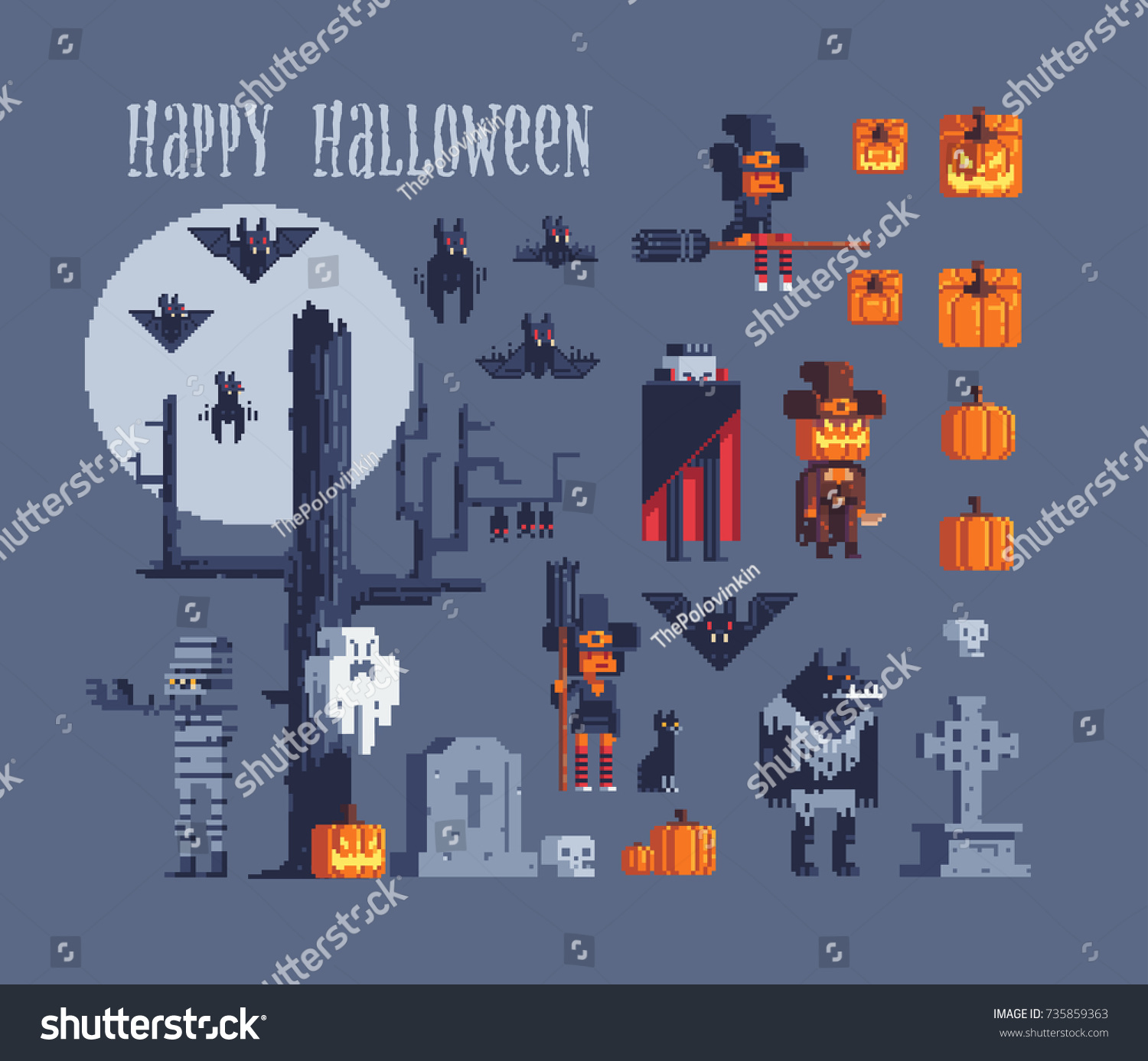 Halloween party characters icons set greeting stock vector halloween party characters icons set greeting stock vector 735859363 shutterstock kristyandbryce Choice Image