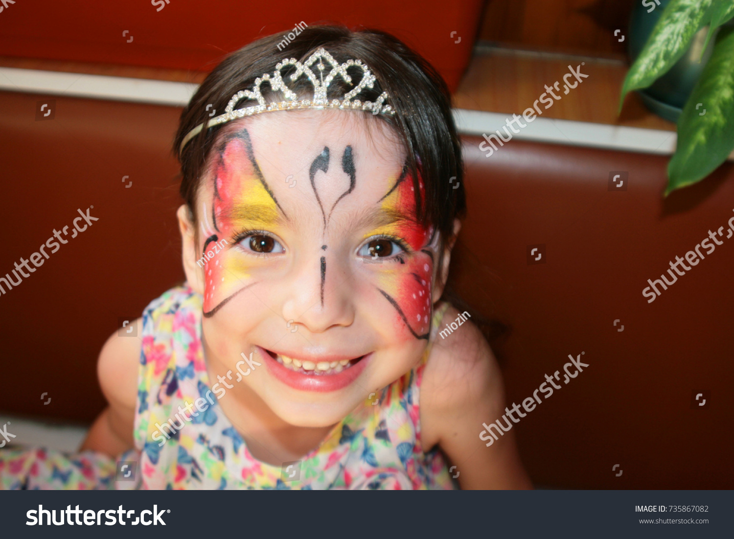 Girl Tattoo On Her Face Stock Photo Edit Now 735867082 Shutterstock