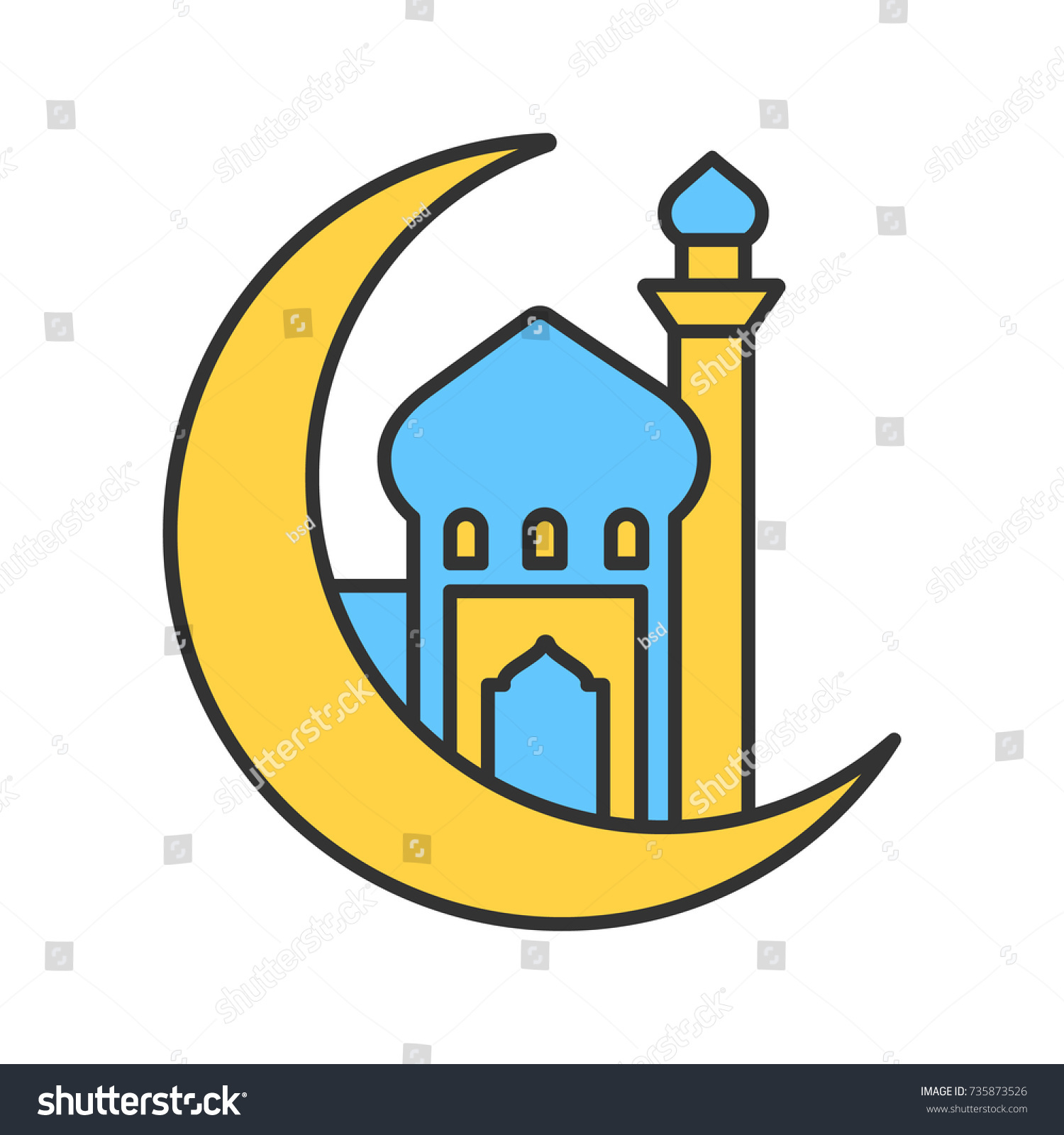 Mosque ramadan moon color icon crescent stock vector 735873526 mosque with ramadan moon color icon crescent moon islamic culture muslim worship place biocorpaavc