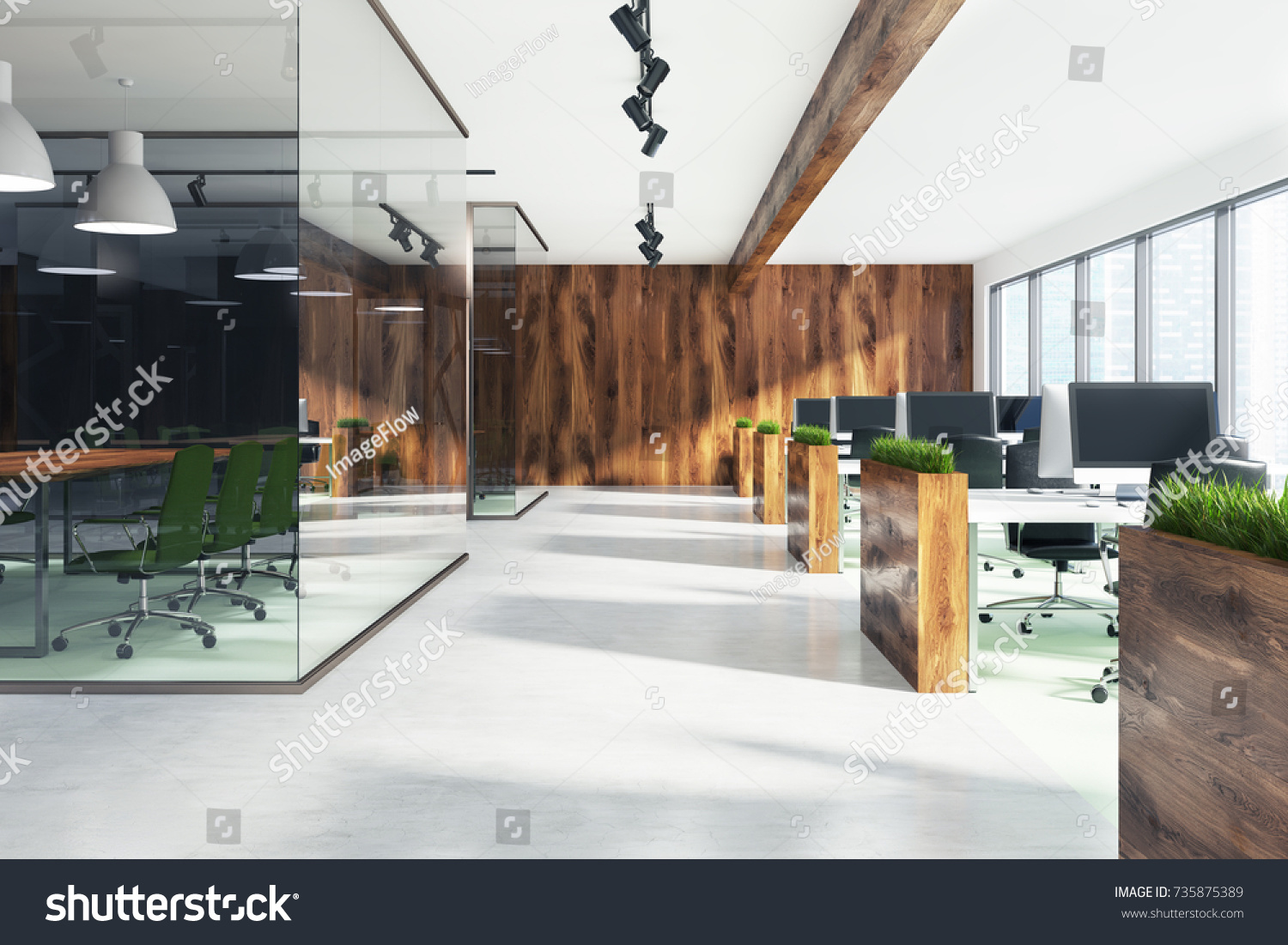 Natural Style Open Space Office Interior Stockillustration 735875389 ...