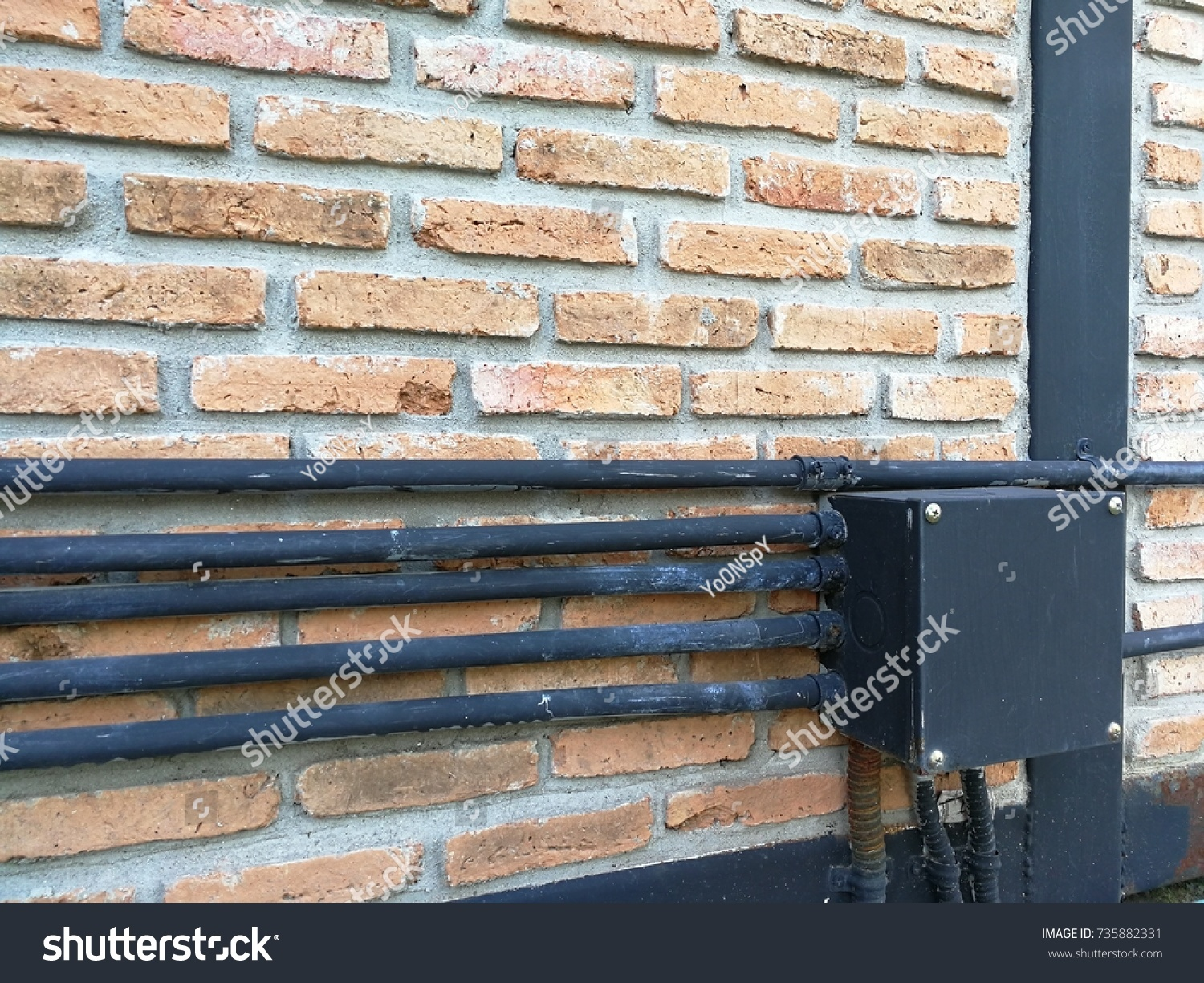 Brick Wall Electrical Conduit Pvc Stock Photo Edit Now Wiring System With