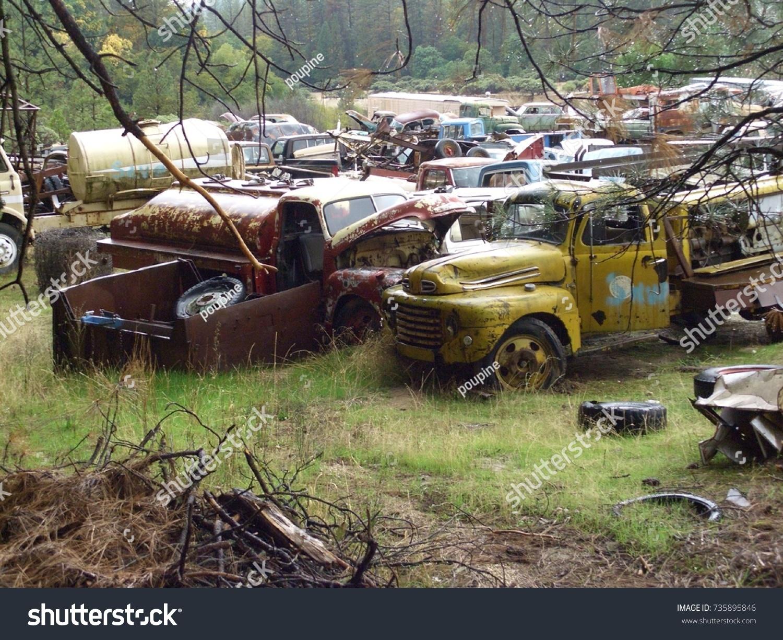 Abandoned Junkyard Vintage Cars Trucks Country Stock Photo ...