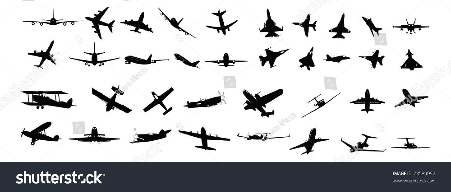 Illustrated Silhouettes Various Types Planes Stock Vector 73589992 ...