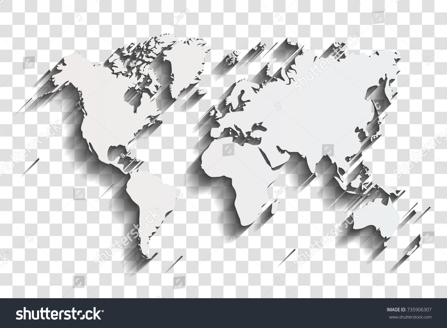 World map shadow on transparent background stock vector 735906307 world map with shadow on a transparent background gumiabroncs Images
