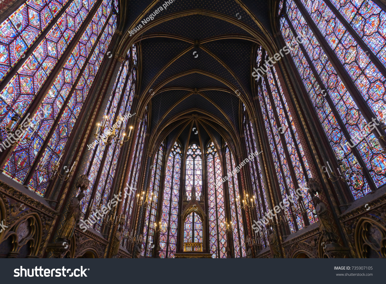 Details Of The Interior Windows Holy Chapel Sainte Chapelle In Paris