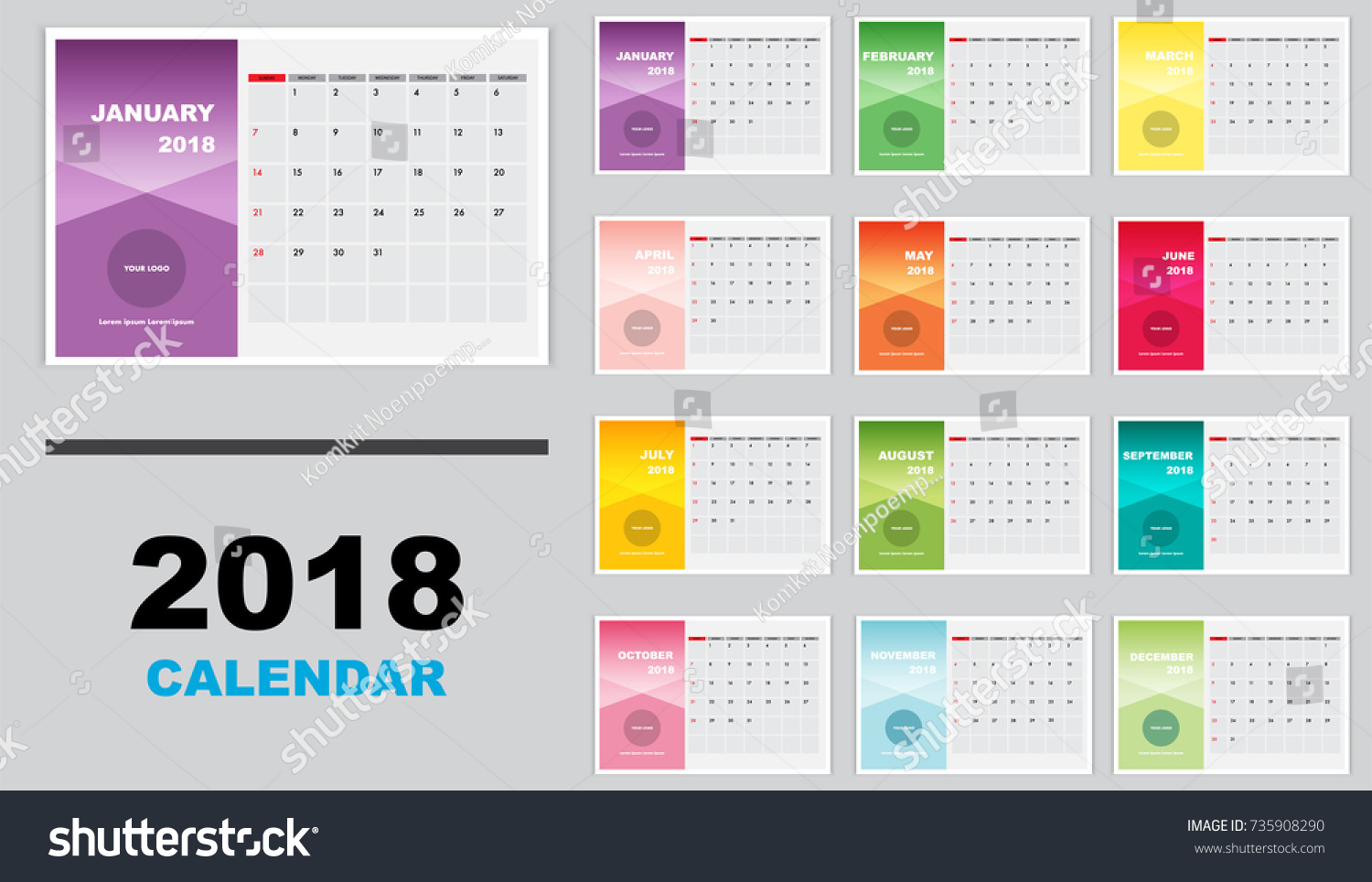 Horizontal Calendar Design : Calendar year horizontal template design stock vector