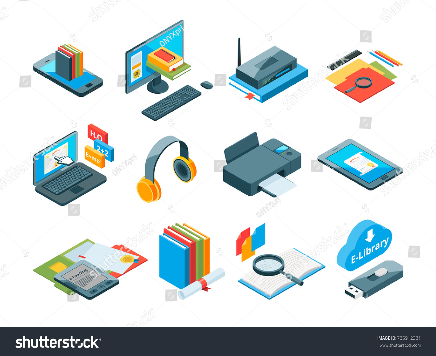 Isometric Symbols Online Education Icons E Stock Vector 735912331
