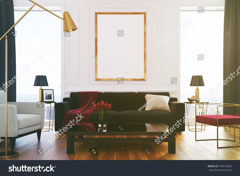 White Living Room Interior Loft Windows Stock Illustration 735915202 ...