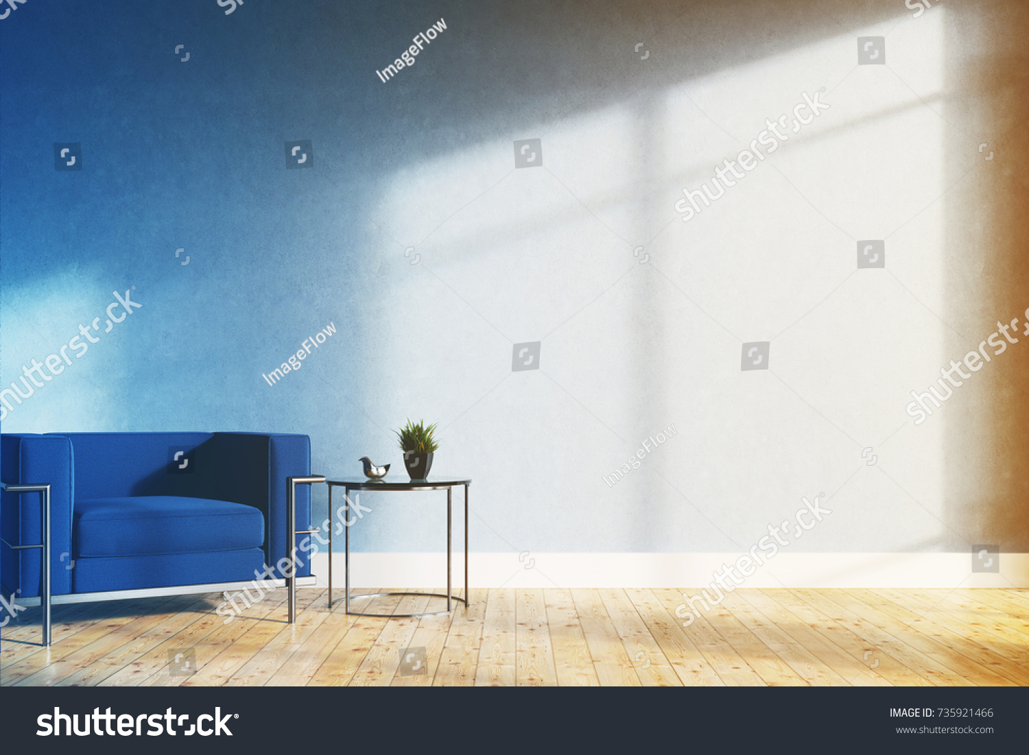 Minimalistic Living Room Interior With Blue Walls, A Wooden Floor, A Soft  Blue And Part 88