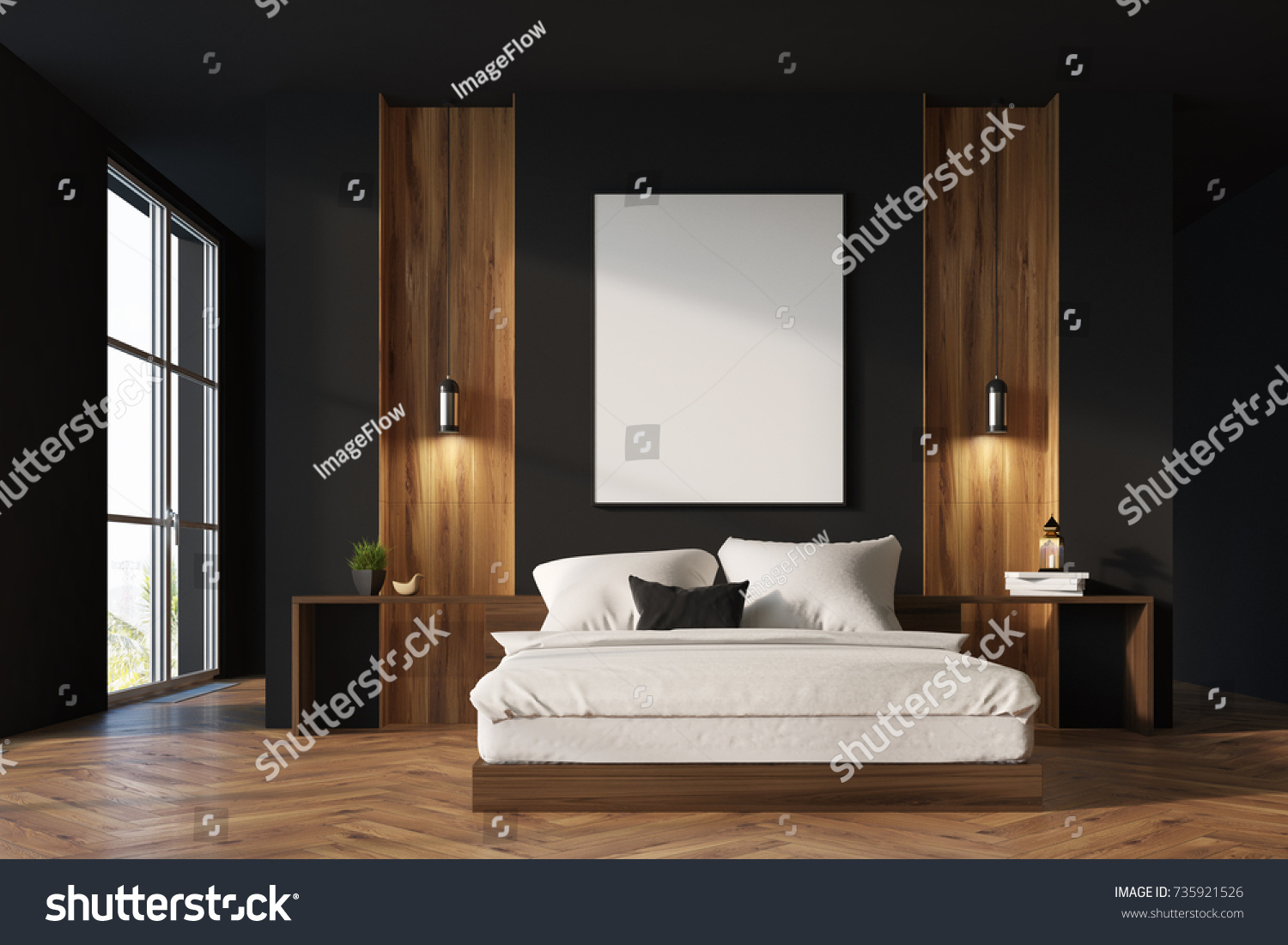 Royalty Free Stock Illustration of Luxury Bedroom Interior Black ...