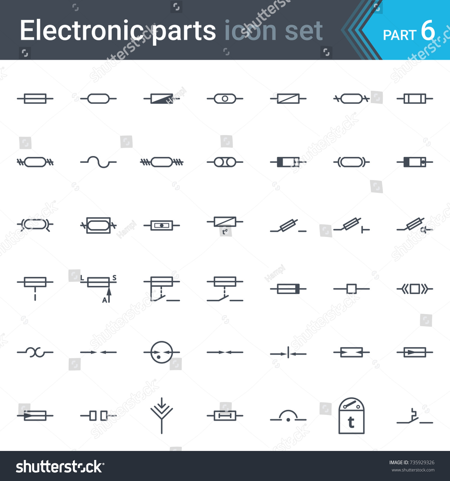 Complete Vector Set Electric Electronic Circuit Stock Electrical Bus Symbol Schematics What Does This Indicate Of And Diagram Symbols Elements Fuses